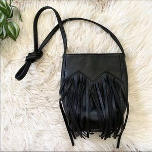 Vintage   Black Vegan Leather Fringe Crossbody